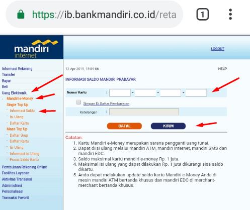 cara cek saldo e-toll di hp tanpa nfc bisa melalui internet banking mandiri.