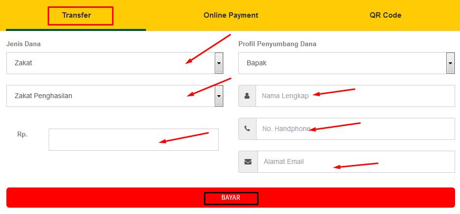 cara bayar zakat penghasilan online