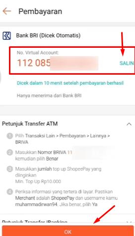 salin nomor rekening virtual yang akan kita pakai untuk transfer pada mesin ATM