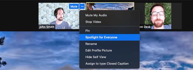 cara spotlight video di zoom