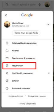 nonaktifkan play protect