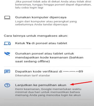 Cara masuk akun google dengan nomor Hp verifikasi 2 langkah tidak aktif